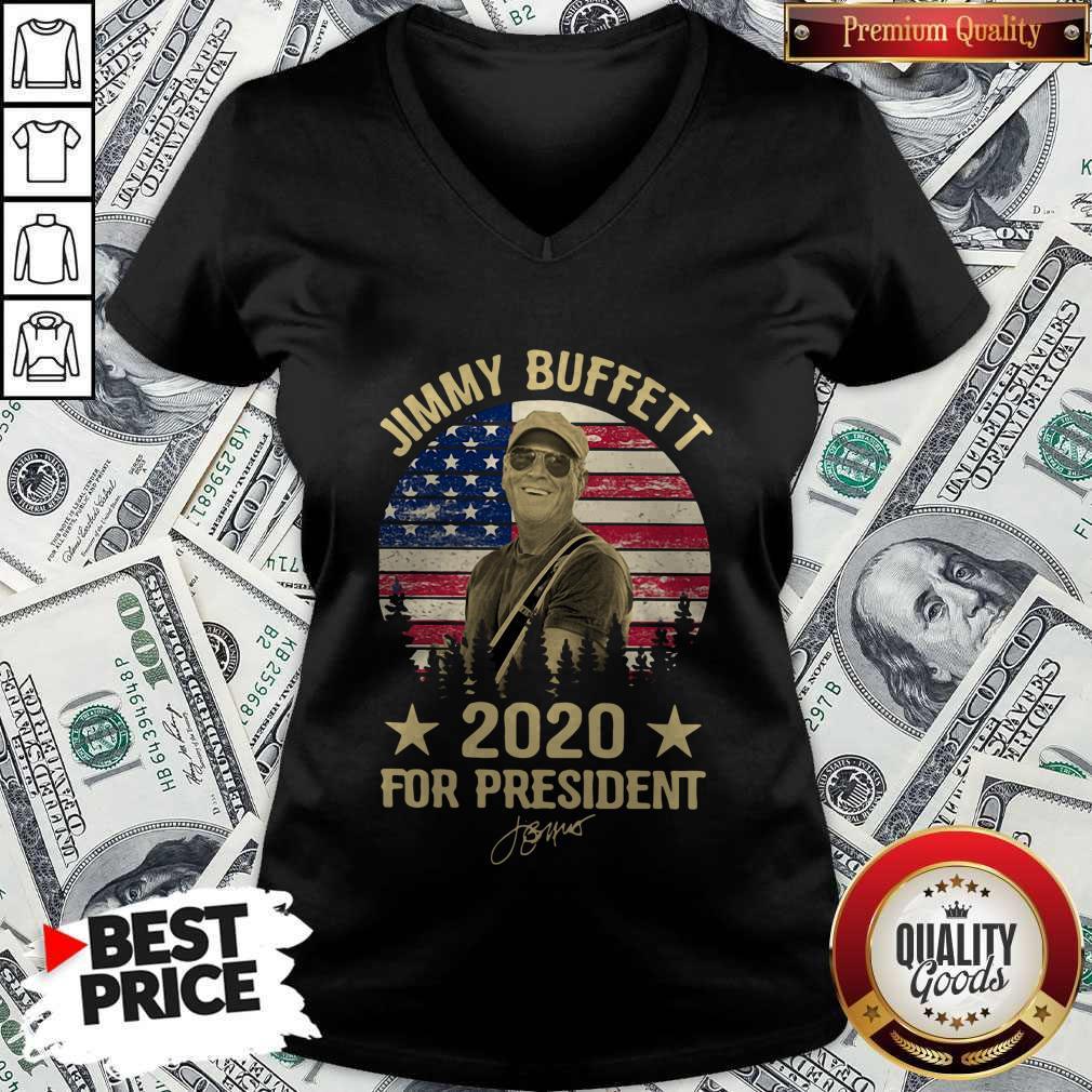 Jimmy Buffett 2020 For President American Flag Vintage V-neck