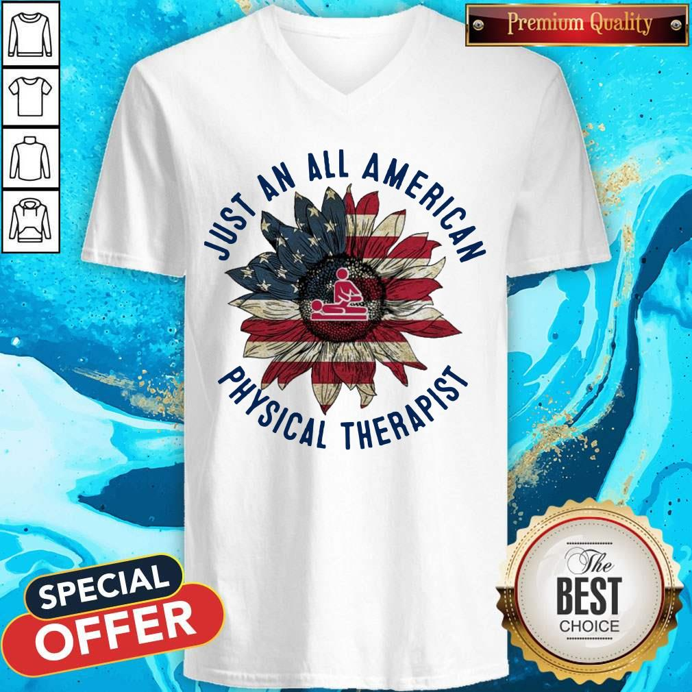 Massage Sunflower Just An All American Physical Therapist V-neck