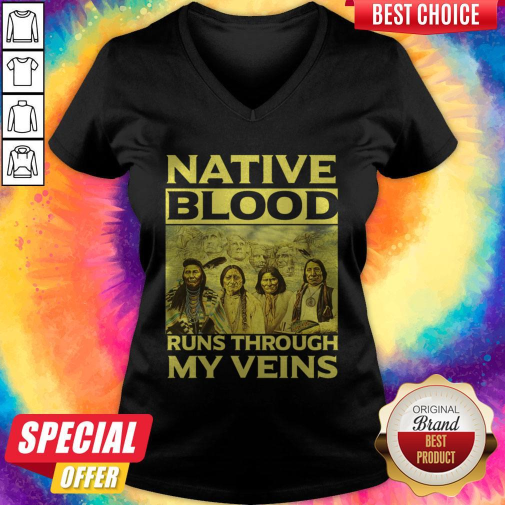 Native Blood Runs Through My Veins V-neck
