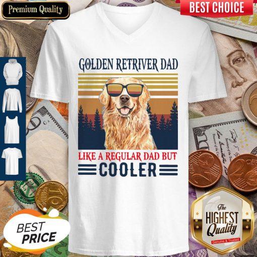 Nice Golden Retriever Dad Like A Regular Dad But Cooler Vintage V Neck
