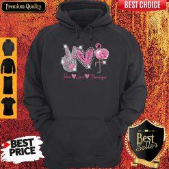 Official Peace Love Flamingo Diamond Hoodie