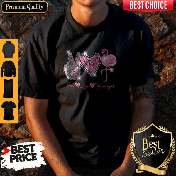 Official Peace Love Flamingo Diamond Shirt