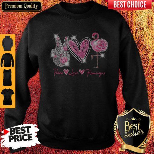 Official Peace Love Flamingo Diamond Sweatshirt