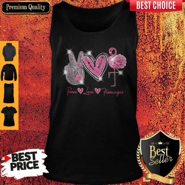 Official Peace Love Flamingo Diamond Tank Top