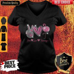 Official Peace Love Flamingo Diamond V Neck
