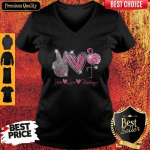 Official Peace Love Flamingo Diamond V Neck