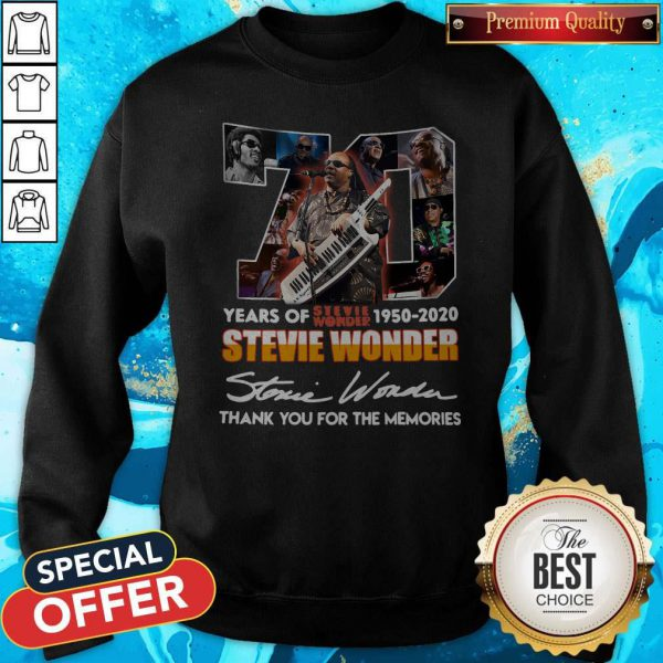 70 Years Of Stevie Wonder 1950 2020 Thank You For The Memories Signature Sweatshirt