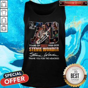 70 Years Of Stevie Wonder 1950 2020 Thank You For The Memories Signature Tank Top