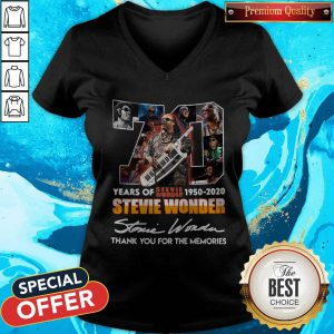 70 Years Of Stevie Wonder 1950 2020 Thank You For The Memories Signature V-neck