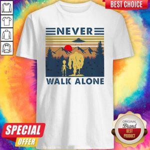 Bigfoot And Alien Never Walk Alone Vintage Shirt