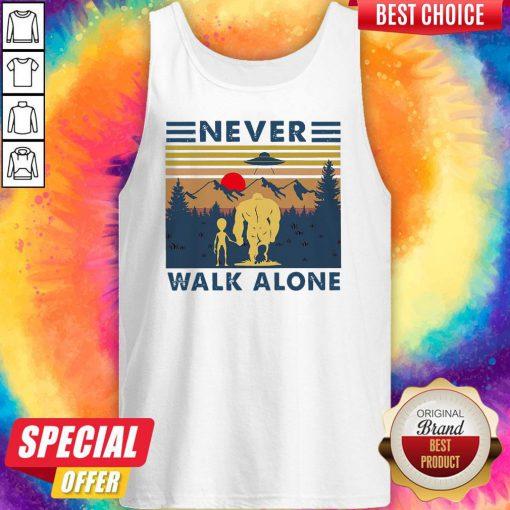 Bigfoot And Alien Never Walk Alone Vintage Tank Top