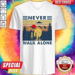 Bigfoot And Alien Never Walk Alone Vintage V-neck