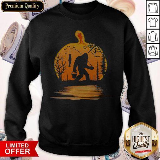 Bigfoot Fishing Water Reflection Halloween Sweatshirt