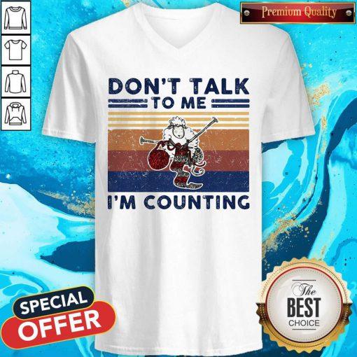 Don't Talk To Me I'm Counting Original Sheep Knitting Vintage Retro V-neck