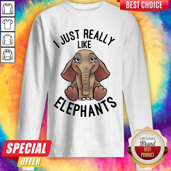 Funny I Just Really Like Elephants Sweatshirt