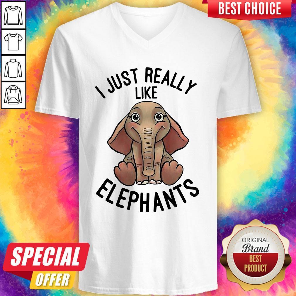 Funny I Just Really Like Elephants V-neck