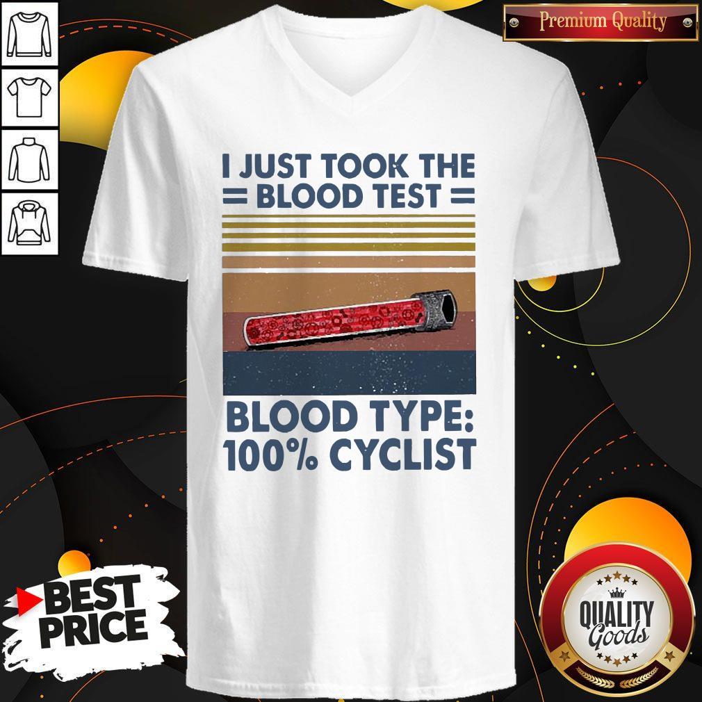 I Just Took The Blood Test Blood Type 100% Cyclist Vintage V-neck