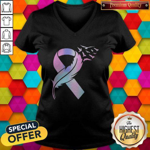 Nice Wings Bird Cancer Awareness V-neck