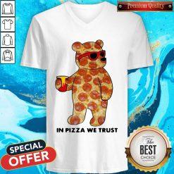 Pizza Bear In Pizza We Trust V-neck