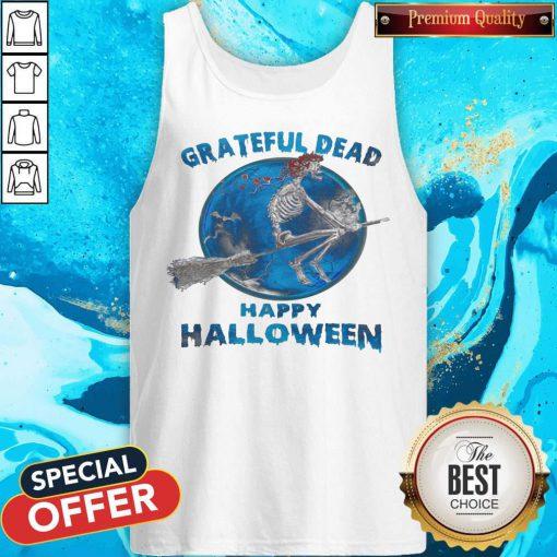 Skeleton Witch Grateful Dead Happy Halloween Tank Top