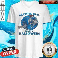 Skeleton Witch Grateful Dead Happy Halloween V-neck