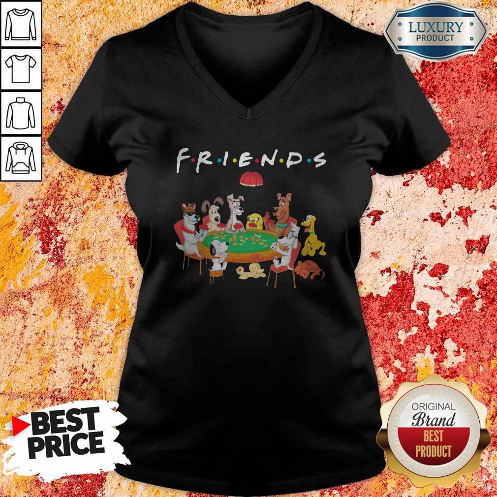 Spoony Dogs Playing Poker Friends V-neck
