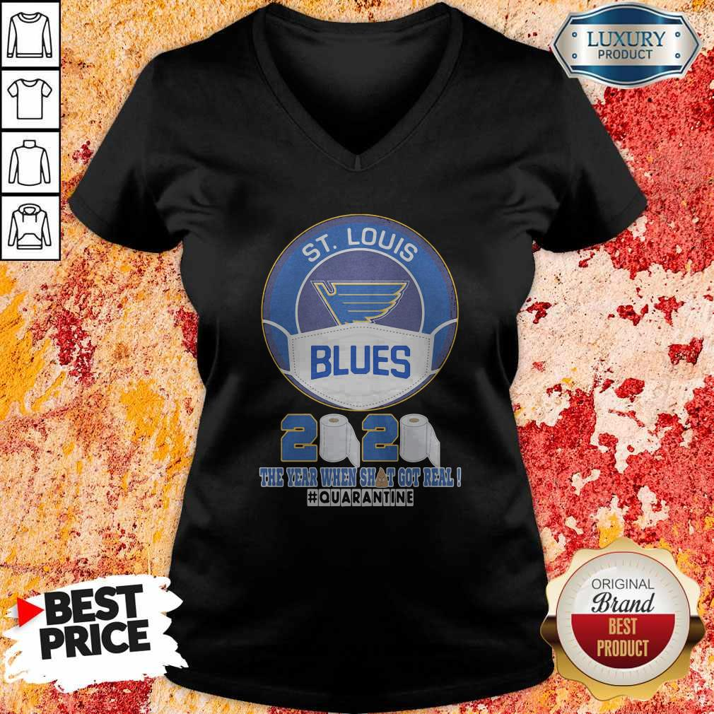 St Louis Blues Mask 2020 The Year When Shit Got Real Quarantine V-neck