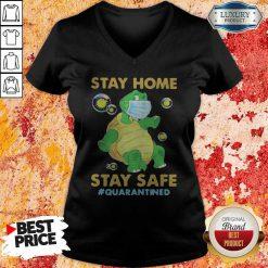Stay Home Stay Safe Quarantined Turtle Face Mask V-neck