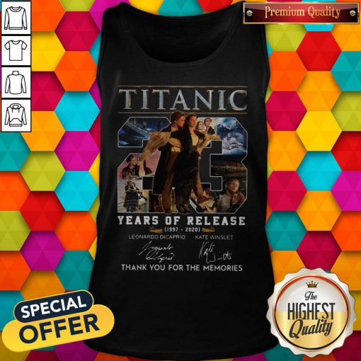 Titanic 23 Years Of Release 1997 2020 Thank You For The Memories Signatures Tank Top