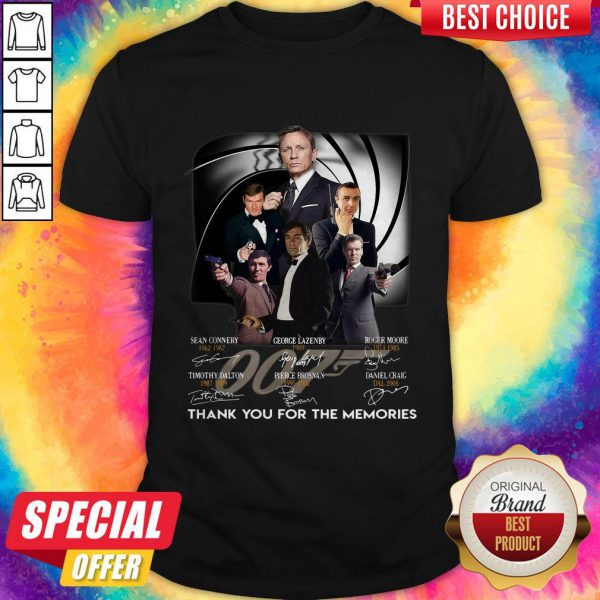 007 Sean Connery George Lazenby Roger Moore Timothy Dalton Pierce Brosnan Daniel Craig Thank You For The Memories Signatures Shirt