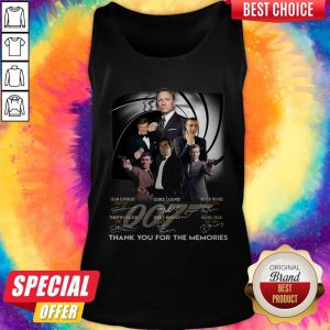 007 Sean Connery George Lazenby Roger Moore Timothy Dalton Pierce Brosnan Daniel Craig Thank You For The Memories Signatures Tank Top
