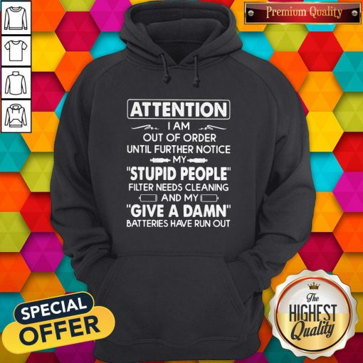 Attention I Am Out Of Order Until Further Notice My Stupid People Filter Needs Cleaning Hoodie
