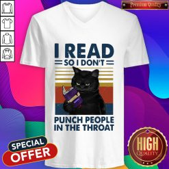Black Cat I Read So I Don't Punch People In The Throat Vintage V-neck