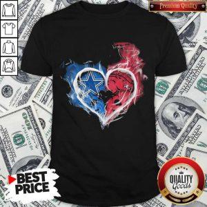 Dallas Cowboy And Arkansas Razorbacks Heart Fire Shirt