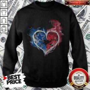Dallas Cowboy And Arkansas Razorbacks Heart Fire Sweatshirt