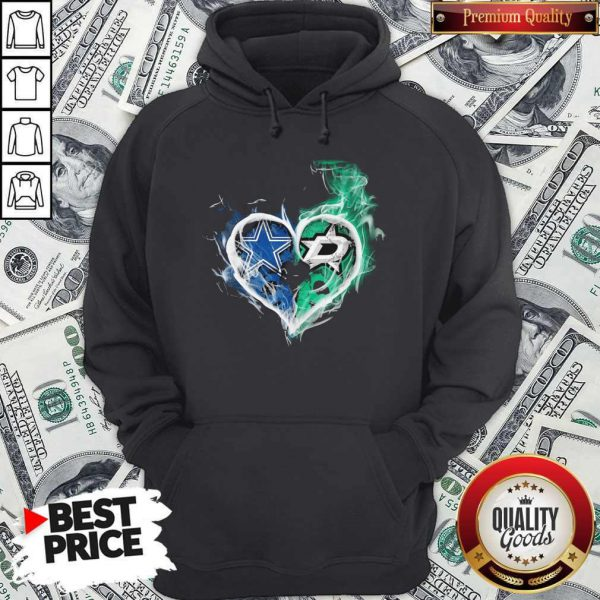 Dallas Cowboy And Dallas Stars Heart Fire Hoodie