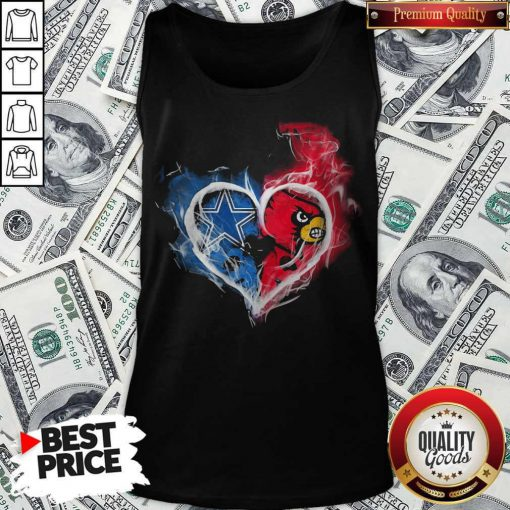 Dallas Cowboy And Louisville Cardinals Heart Fire Tank Top