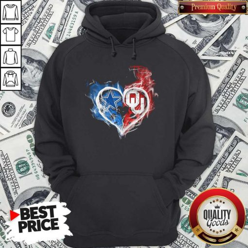 Dallas Cowboy And Oklahoma Sooners Heart Fire Hoodie