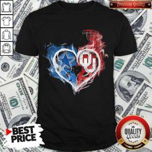 Dallas Cowboy And Oklahoma Sooners Heart Fire Shirt