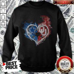 Dallas Cowboy And Oklahoma Sooners Heart Fire Sweatshirt