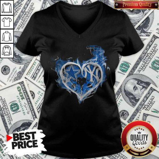 Dallas Cowboys And New York Yankees Heart V-neck