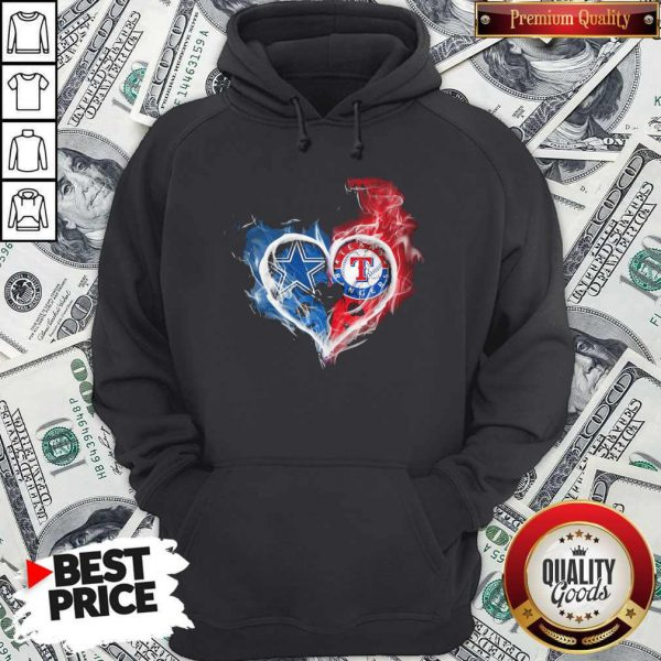 Dallas Cowboys And Texas Rangers Heart Hoodie