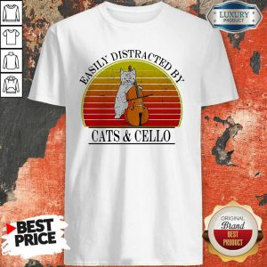 Easily Distracted By Cats And Cello Vintage Shirt