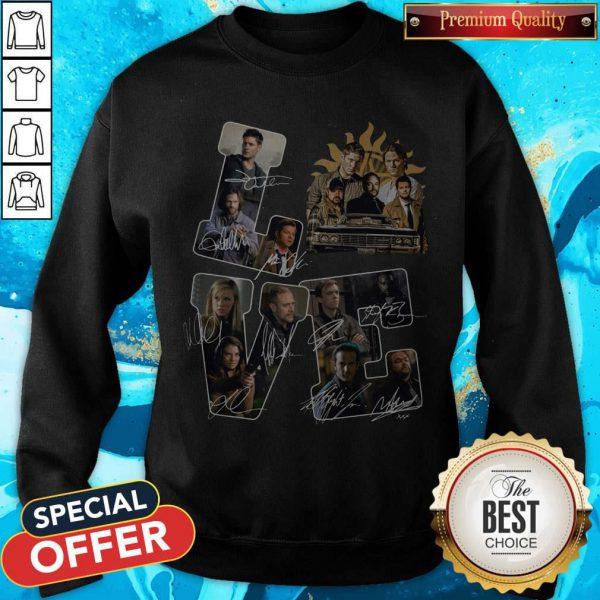 Funny Official Love Supernatural Signatures Sweatshirt
