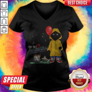 Funny Oh Shit Cat PennywIse It V-neck