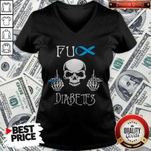Funny Skull Fuck Diabetes V-neck