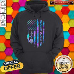 Never Give Up American Flag Stone Lotus Color Hoodie