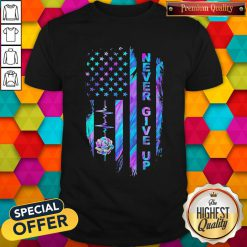Never Give Up American Flag Stone Lotus Color Shirt