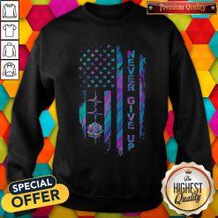 Never Give Up American Flag Stone Lotus Color Sweatshirt