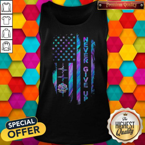 Never Give Up American Flag Stone Lotus Color Tank Top